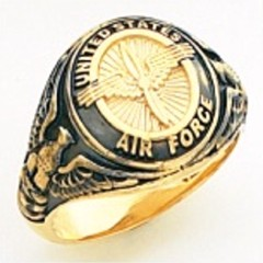 10KT or 14KT Air Force Ring, Solid Back, Yellow or White Gold #2