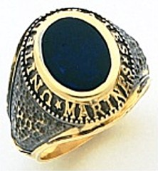 10KT or 14KT Marine Ring,  Solid Back, Yellow or White Gold #7021