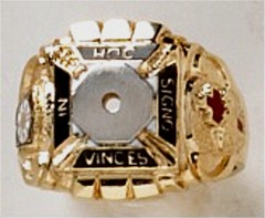 Knights  Templar Ring 10K or 14K Gold, Open or Solid Back #1517