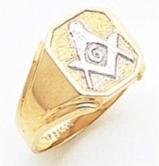 3rd Degree Masonic Blue Lodge Ring 10KT OR 14KT, Open Back, White or Yellow Gold, #101B