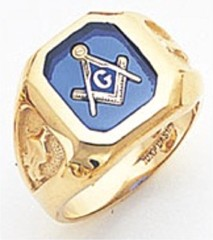 3rd Degree Masonic Blue Lodge Ring 10KT OR 14KT, Open or Solid Back, White or Yellow Gold, #106b