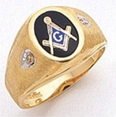 3rd Degree Masonic Blue Lodge Ring 10KT OR 14KT, Open Back, White or Yellow Gold, #110B