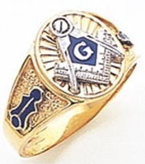 3rd Degree Masonic Blue Lodge Ring 10KT OR 14KT,  Solid Back, White or Yellow Gold, #102b