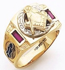 3rd Degree Masonic Blue Lodge Ring 10KT OR 14KT, Solid Back, White or Yellow Gold, #103b