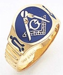 3rd Degree Masonic Blue Lodge Ring 10KT OR 14KT, Solid Back, Enameled, White or Yellow Gold, #104b