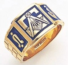 3rd Degree Masonic Blue Lodge Ring 10KT OR 14KT, Solid Back, White or Yellow Gold, #105b