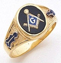 3rd Degree Masonic Blue Lodge Ring 10KT OR 14KT,  Solid Back, White or Yellow Gold, #109B