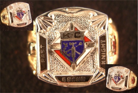 Knights of Columbus Rings,3rd Degree,Past Grand Knight 10KT or 14KT  Gold Open or Closed Back #1904