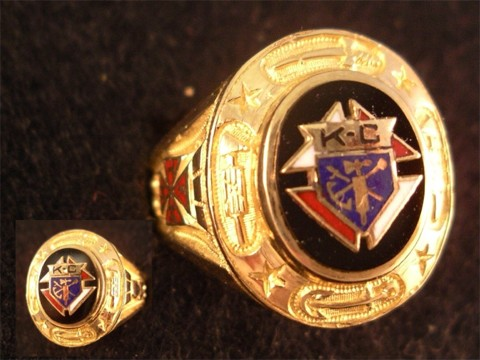 Knights of Columbus Ring,3rd Degree, 10KT or 14Kt Gold Open or Solid Back #1920