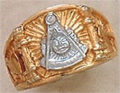 Masonic Past Master Rings, 10KT or 14KT Gold, White or Yellow Gold, Solid Back   #1001