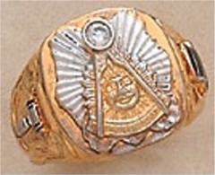 Masonic Past Master Rings, 10KT or 14KT  Gold, White or Yellow Gold, Solid Back #1007