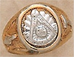 Masonic Past Master Rings, 10KT or 14KT Gold, White or Yellow Gold, Solid Back #1005