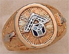 Masonic Pennsylvania  Past Master Rings, 10KT or 14KT  GOLD, Solid Back #1008A
