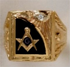 3rd Degree Masonic Ring 10KT OR 14KT  Open or Solid Back, White or Yellow Gold, #705