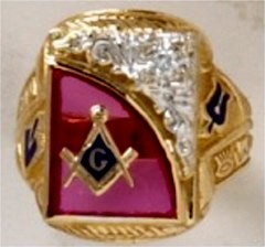 3rd Degree Blue Lodge Masonic Ring 10KT or 14KT Gold, Open or Solid Back .10CT Diamond  #410