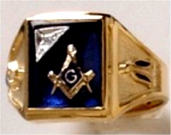 3rd Degree Masonic Ring 10KT OR 14KT Solid Back, White or Yellow Gold, #713