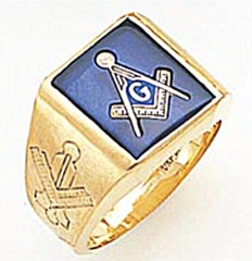 3rd Degree Masonic Blue Lodge Ring 10KT OR 14KT, Solid Back, White or Yellow Gold, #142b