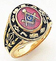 3rd Degree Masonic Blue Lodge Ring 10KT OR 14KT, Solid Back, White or Yellow Gold, #143b