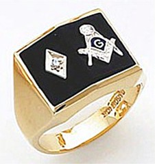 3rd Degree Masonic Blue Lodge Ring 10KT OR 14KT, Open or Solid Back, White or Yellow Gold, #145b