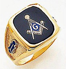 3rd Degree Masonic Blue Lodge Ring 10KT OR 14KT, Solid Back, White or Yellow Gold, #146b
