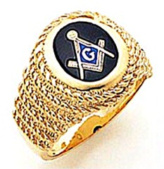 3rd Degree Masonic Blue Lodge Ring 10KT OR 14KT, Smooth Back, White or Yellow Gold, #147b
