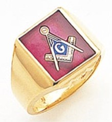 3rd Degree Masonic Blue Lodge Ring 10KT OR 14KT, Solid Back, White or Yellow Gold, #150b