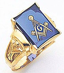 3rd Degree Masonic Blue Lodge Ring 10KT OR 14KT, Open or Solid Back, White or Yellow Gold, #152b