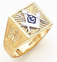 3rd Degree Masonic Blue Lodge Ring 10KT OR 14KT, Solid Back, White or Yellow Gold, #154b