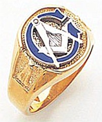 3rd Degree Masonic Blue Lodge Ring 10KT OR 14KT, Solid Back, White or Yellow Gold, #155b