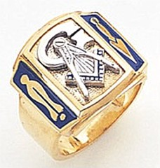 3rd Degree Masonic Blue Lodge Ring 10KT OR 14KT, Solid Back, White or Yellow Gold, #156b