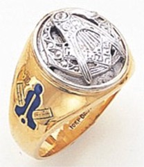 3rd Degree Masonic Blue Lodge Ring 10KT OR 14KT, Solid Back, White or Yellow Gold, #157b