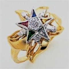 Eastern Star 10Kt or 14KT, Yellow or White Gold with Diamonds #10