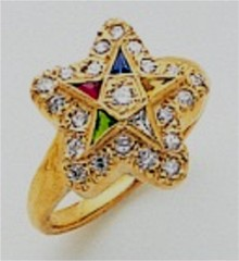 Eastern Star 10Kt or 14KT, Yellow or White Gold with Diamonds#16