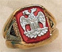 Scottish Rite Rings, 14 & 32ND DEGREE, 10KTor 14KT Gold, Hollow Back  #1101
