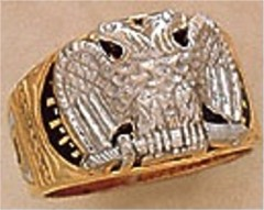 Scottish Rite Rings, 18,14 & 32ND DEGREE, 10KTor 14KT Gold, Solid Back  #1102