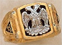Scottish Rite Ring, 10KT or 14KT Gold, Solid Back    #1103A