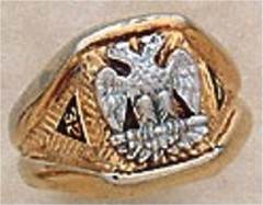 Scottish Rite Rings, 14 & 32ND DEGREE,10KT or 14KT Gold, Hollow Back   #1104
