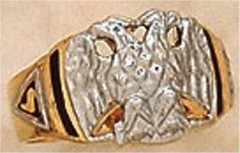 Scottish Rite Rings, 10 KT or 14KT Gold, Hollow Back  #1117