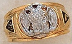 Scottish Rite Rings, 10 KT or 14Kt Gold, Hollow Back  #1119