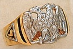 Scottish Rite Rings, 10 KT or 14KT Gold, Solid Back,  #1118