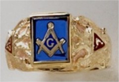 3rd Degree Masonic Ring 10KT OR 14KT Open or Solid Back, White or Yellow Gold, #718