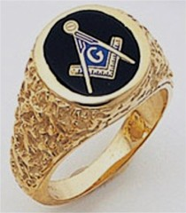 3rd Degree Masonic Blue Lodge Ring 10KT OR 14KT, Solid Back , Nugget, White or Yellow Gold, #112b