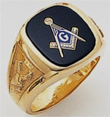 3rd Degree Masonic Blue Lodge Ring 10KT OR 14KT, Solid Back, White or Yellow Gold, #113B
