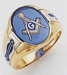 3rd Degree Masonic Blue Lodge Ring 10KT OR 14KT, Open Back, White or Yellow Gold, #114B