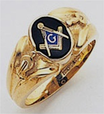 3rd Degree Masonic Blue Lodge Ring 10KT OR 14KT, Open Back, White or Yellow Gold, #115b