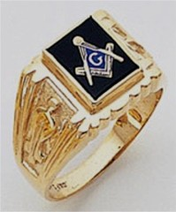 3rd Degree Masonic Blue Lodge Ring 10KT OR 14KT, Open Back, White or Yellow Gold, #116b
