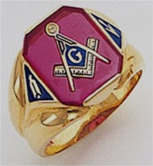 3rd Degree Masonic Blue Lodge Ring 10KT OR 14KT, Open Back, White or Yellow Gold, #117b