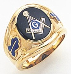 3rd Degree Masonic Blue Lodge Ring 10KT OR 14KT, Open or Solid Back Back, White or Yellow Gold, #118B