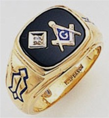 3rd Degree Masonic Blue Lodge Ring 10KT OR 14KT, Solid Back, White or Yellow Gold, #121B