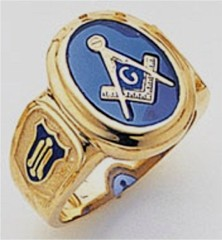3rd Degree Masonic Blue Lodge Ring 10KT OR 14KT, Open Back, White or Yellow Gold, #122B